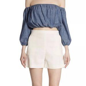 Theory Shell Tarrytown linen shorts high waist 8